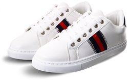 Krush White / Navy / Red Lace Up Trainers