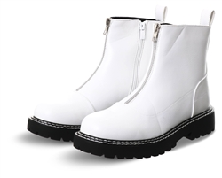 Krush White Pu Zip Up Boot