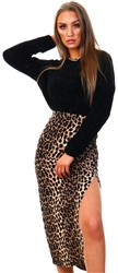 Missi London Leopard Print Midi Skirt