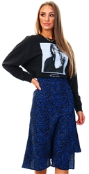 Missi London Blue Animal Print Midi Skirt
