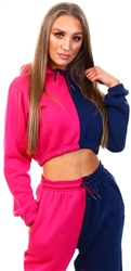 Cutie London Pink/Navy Two Tone Crop Hoody