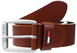 Tommy Jeans Cognac Brown Flag Keeper Leather Belt