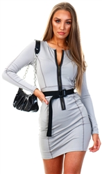 Saint Genies Light Grey Bodycon Zip Up Belted Dress