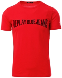 Replay Red Blue Jeans Logo T-Shirt