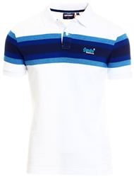 Superdry White Stripe Organic Cotton Malibu Stripe Polo Shirt