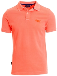 Superdry Hyper Coral Organic Cotton Vintage Destroyed Pique Polo Shirt