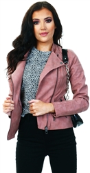 Only Pink / Ash Rose Leather Look Jacket