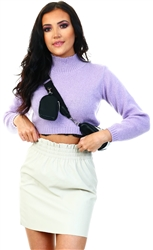 Glamorous Pale  Lilac Cropped High Neck Knit Jumper