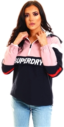 Superdry Soft Pink Colour Block Overhead Jacket