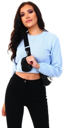Glamorous Blue Cropped Jumper