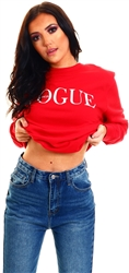 Missi London Red Vogue Italia Crew Sweat