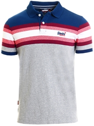 Superdry Blue Organic Cotton Malibu Stripe Polo Shirt