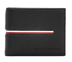 Tommy Jeans Black Downtown Small Leather Signature Trim Wallet