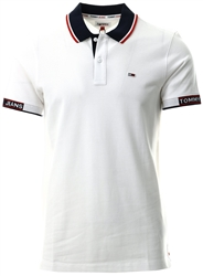 Tommy Jeans White Stripe Collar Organic Cotton Pique Polo