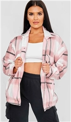Vivichi Pink Thick Colour Block Shacket