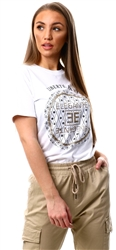 Vivichi White Anthea Glitter Elegante Graphic Printed T-Shirt