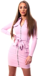 Parisian Lilac Denim Zip Front Belted Dress