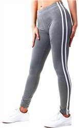 Brave Soul Grey / White Stripe Leggings