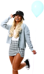 Cutie London Mint Green Check Split Mini Skirt