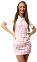 Cutie London Pink / Yellow Check Pattern Pinafore Dress