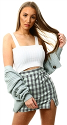 Brave Soul White Ribbed Cropped Vest Top