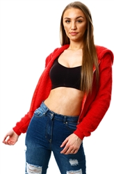 Parisian Red Teddy Borg Cropped Top