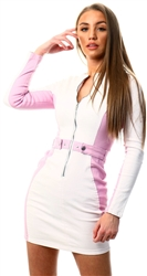 Parisian White / Lilac Panel Denim Zip Front Dress