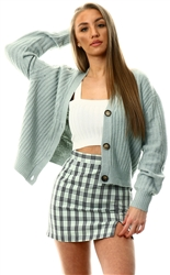 Brave Soul Sage Green Cable Knit Cardigan