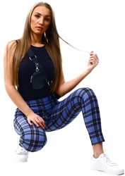 Cutie London Blue Check Pattern Leggings