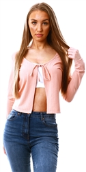 Vila Pink / Misty Rose Front Tie Ribbed Cardigan
