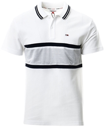 Tommy Jeans White / Multi Striped Honeycomb Pique Relaxed Fit Polo