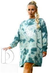 Daisy St Green Tie-Dye Oversized Sweat Dress