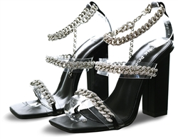 Public Desire Celebrity Black Diamante Chain Block Heels