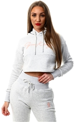 Gym King Grey Marl/Rose Sky Script Hooded Crop