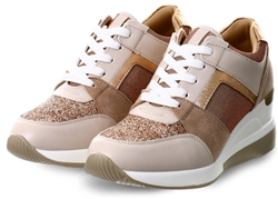 Redz Beige / Rose Gold Platform Lace Up Trainers