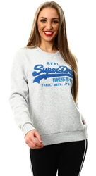 Superdry Light Grey Marl Vintage Logo Chenille Crew Sweatshirt