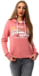 Superdry Dusty Rose Vintage Logo Brushed Hoodie