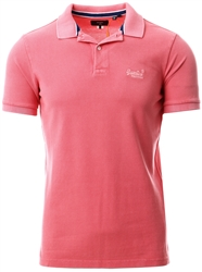 Superdry Maldive Pink Organic Cotton Vintage Destroyed Pique Polo Shirt