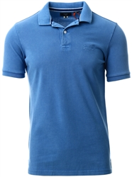 Superdry Heraldic Blue Organic Cotton Vintage Destroyed Pique Polo Shirt