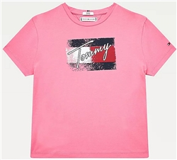 Tommy Jeans Exotic Pink Organic Cotton Flag Print T-Shirt