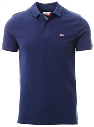 Tommy Jeans Twilight Navy Stretch Organic Cotton Slim Polo