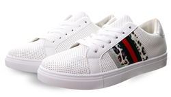 Dv8 White / Animal Print Panel Lace Up Trainers