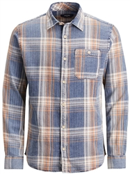 Jack & Jones Blue / Dusk Blue Checked Western Shirt