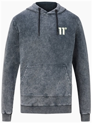 11degrees Black Acid Wash Pullover Hoodie