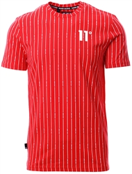 11degrees Goji Berry / White Vertical Stripe T-Shirt