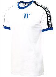 11degrees White Taped Ringer T-Shirt Muscle Fit