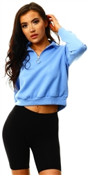 Brave Soul Cornflower Blue Half Zip Crop Sweater