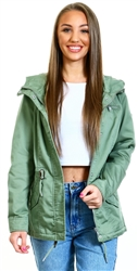 Only Green / Hedge Green Canvas Parka Jacket