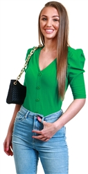 Only Green / Jelly Bean Puff Sleeve Top