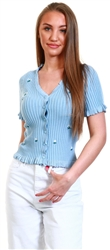 Only Blue / Blue Fog Short Sleeved Embroidery Cardigan